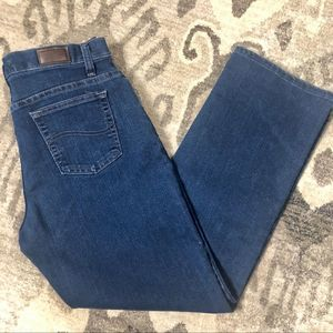 Lee Relaxed Straight Leg Blue Jeans Petite 8